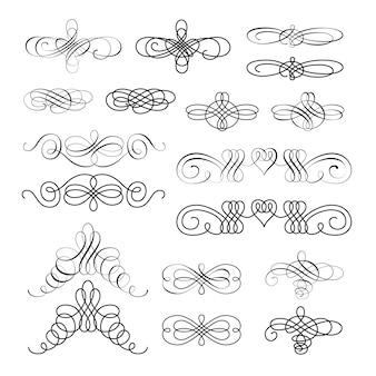 Ensemble d'éléments de dessin calligraphiques et décorations de page
