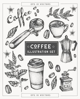 Ensemble d'éléments dessinés à la main de café.