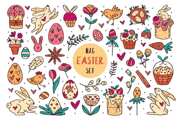 Ensemble d'éléments dessinés à la main doodle de pâques,