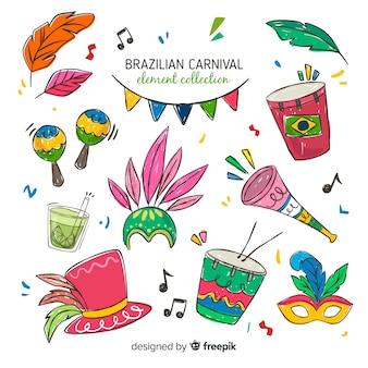 Ensemble d'éléments dessinés à la main du carnaval brésilien