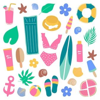 Ensemble d'éléments dessinés à la main d'été et de plage