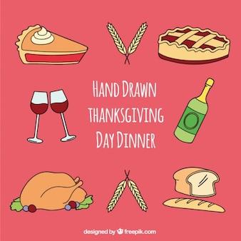 Ensemble d'éléments dessinés à la main pour le dîner de thanksgiving