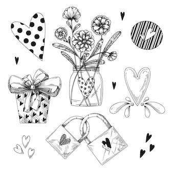Ensemble d'éléments dessinés à la main romantique. différents coeurs, fleurs et autres éléments différents. illustration de croquis dessinés à la main.