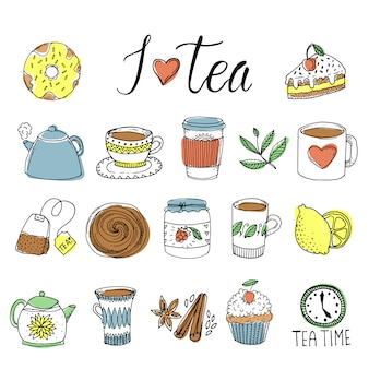 Ensemble d'éléments dessinés à la main de thé