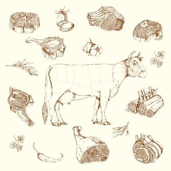 Ensemble d'éléments dessinés à la main de viande