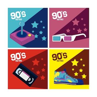 Ensemble d'éléments de dessins animés des années 90