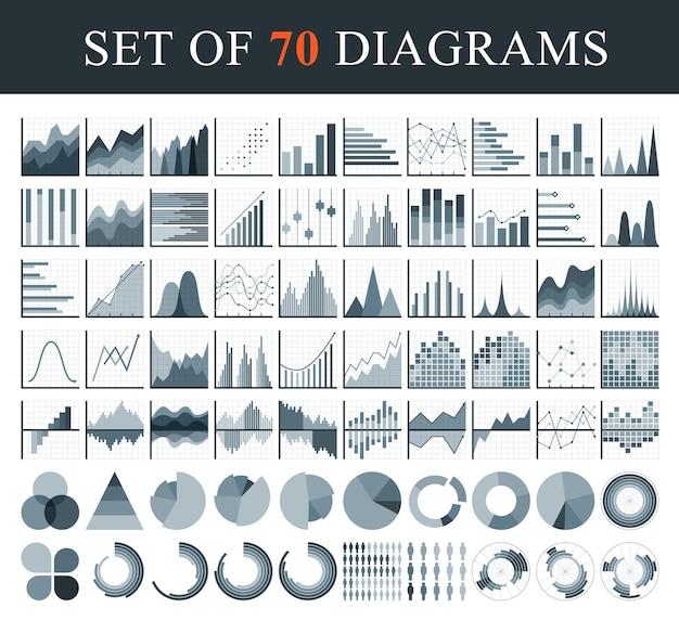 Ensemble d'éléments de diagramme et de graphiques pour les entreprises