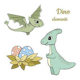 Ensemble d'éléments de dinosaure
