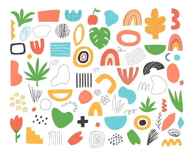 Ensemble d'éléments de doodle abstraits dessinés à la main.