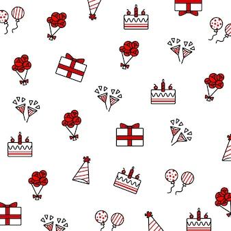 Ensemble d'éléments doodle anniversaire, y compris gâteau d'anniversaire, ballon, chapeau de fête, popper parti, bou