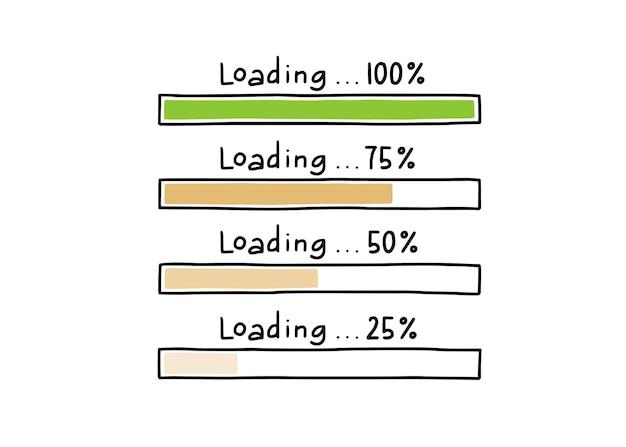 Ensemble d'éléments de doodle de barre de chargement. style de croquis de ligne dessiné à la main. vitesse de téléchargement lente, état de progression, concept de barre de chargement internet. illustration vectorielle isolée.