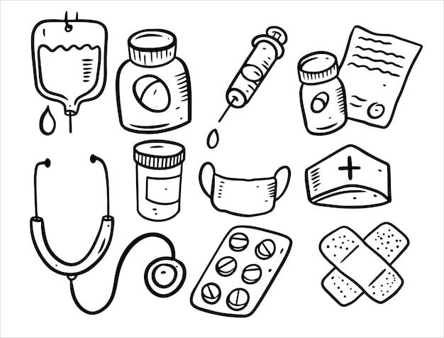 Ensemble d'éléments de doodle médecine isolé sur blanc