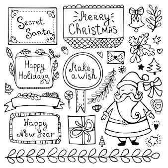 Ensemble d'éléments de doodle de noël, nouvel an et hiver dessinés à la main mignon isolés