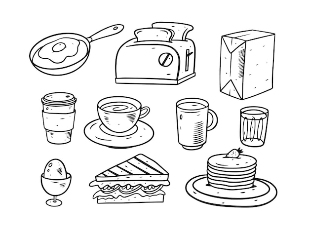 Ensemble d'éléments de doodle petit déjeuner isolé sur blanc