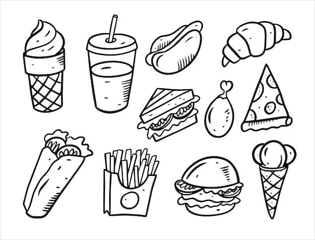 Ensemble d'éléments de doodle de restauration rapide isolé sur blanc
