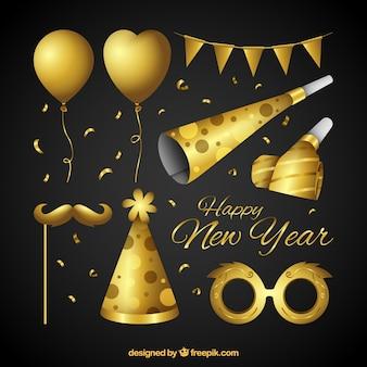 Ensemble d'éléments dorés de fête de nouvel an
