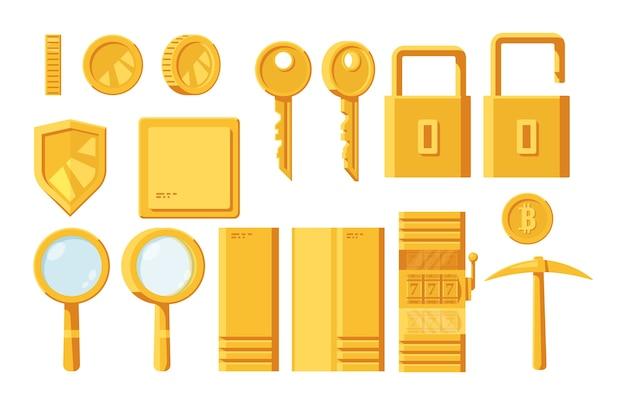 Ensemble d'éléments dorés pour le design