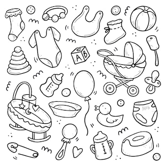 Ensemble d'éléments de douche dessinés à la main