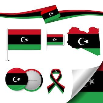 Ensemble d'éléments de drapeau avec la libye