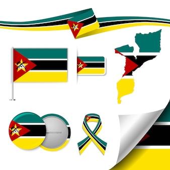 Ensemble d'éléments de drapeau avec le mozambique