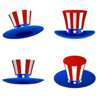 Ensemble d'éléments du 4 juillet de chapeaux isolés de l'indépendance américaine