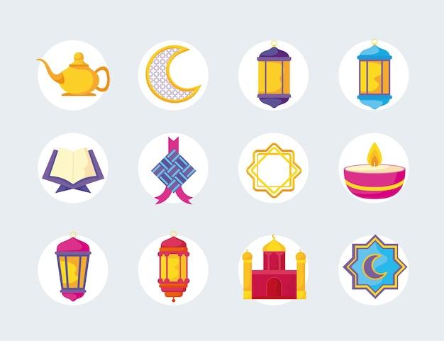 Ensemble d'éléments du festival de l'aïd