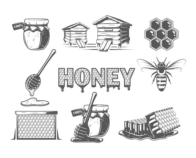 Ensemble d'éléments du miel