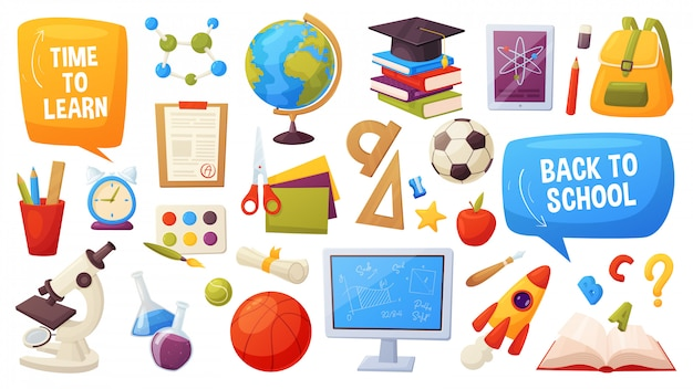 Ensemble d'éléments d'école. les objets et fournitures de bande dessinée incluent: livres, sac à dos, ordinateur, globe, ballon, alarme, règle, microscope, flacons, cahier, capuchon, liste de notes, pomme
