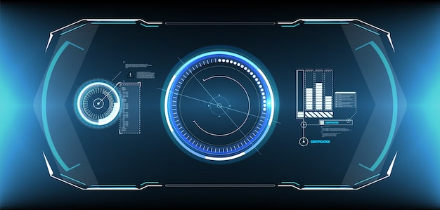 Ensemble d'éléments d'écran d'interface utilisateur futuriste hud ui gui. écran haute technologie pour jeu vidéo.