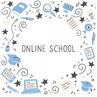 Ensemble d'éléments de l'éducation en ligne dessinés à la main. illustration.