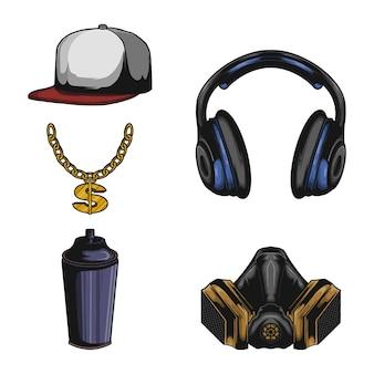 Ensemble d'éléments d'équipement hip hop et vecteur