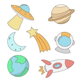 Ensemble d'éléments de l'espace coloré dessinés à la main