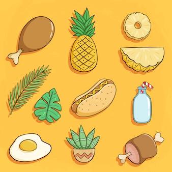 Ensemble d'éléments d'été avec ananas, hot-dog et cactus