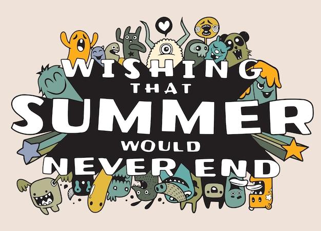 Ensemble d'éléments d'été dessinés à la main. illustration de doodle de monstres mignons