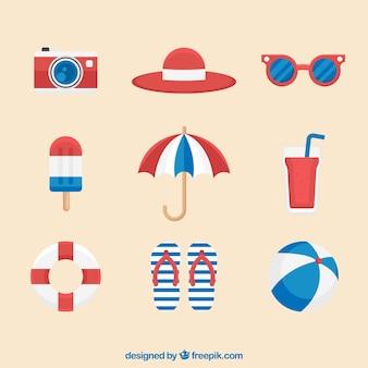 Ensemble d'éléments de l'été avec de la nourriture et des vêtements dans un style plat