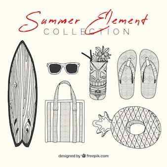 Ensemble d'éléments d'été