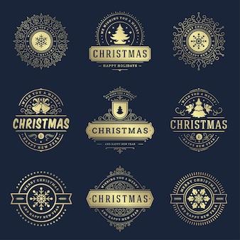 Ensemble d'éléments d'étiquettes et de badges de noël. joyeux noël et bonne année souhaite des objets de décoration de typographie rétro pour des ornements vintage de cartes de voeux.