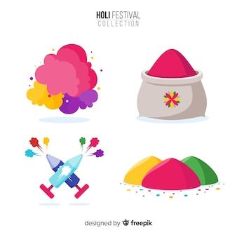 Ensemble d'éléments de festival de holi coloré