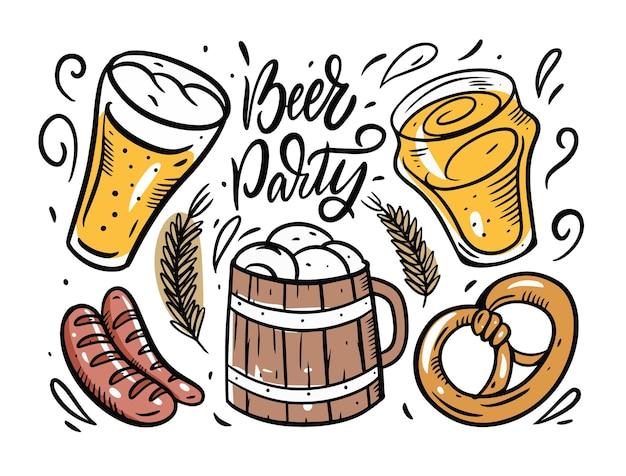 Ensemble d'éléments de fête de la bière isolé sur blanc