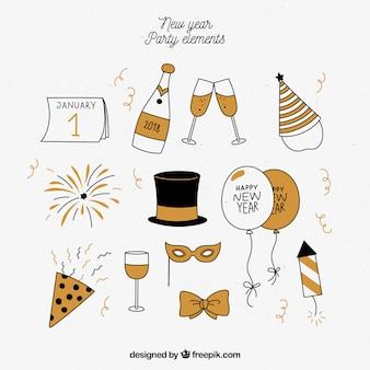Ensemble d'éléments de fête de nouvel an