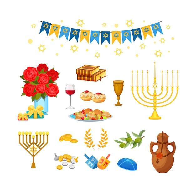 Ensemble d'éléments de la fête traditionnelle juive de hanoucca. nourriture, dessert, décor pour célébrer