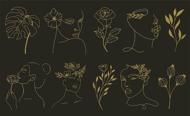 Ensemble d'éléments de feuille et de fleur de visage abstrait