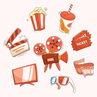 Ensemble d'éléments de film ou de cinéma dans un style dessiné à la main