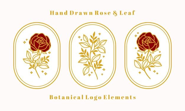 Ensemble d'éléments de fleur rose botanique vintage or dessinés à la main pour logo féminin ou marque de beauté