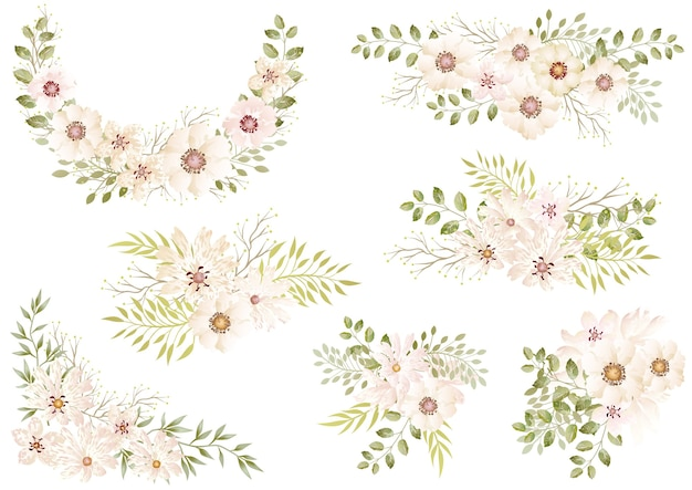 Ensemble d'éléments floraux aquarelle blanc isolé sur un blanc