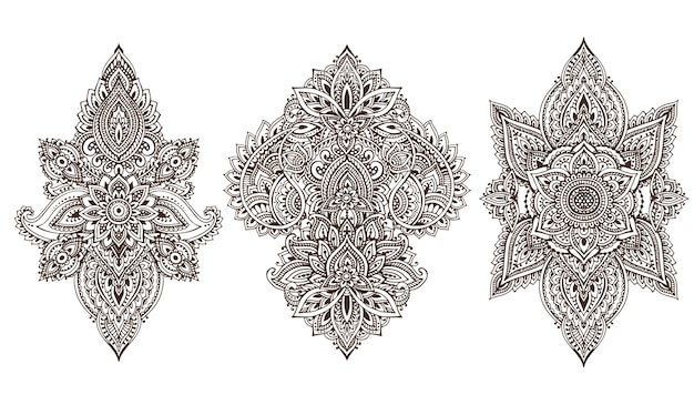 Ensemble d'éléments floraux au henné basés sur des ornements asiatiques traditionnels. collection paisley mehndi doodles