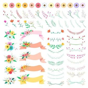 Ensemble d'éléments floraux. feuille et fleur décorative de vecteur