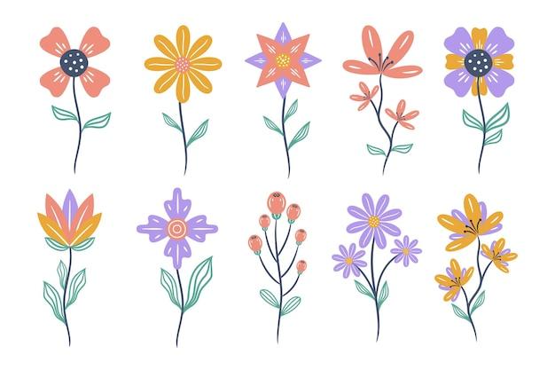 Ensemble d'éléments floraux. fleur et feuilles isolés sur fond blanc