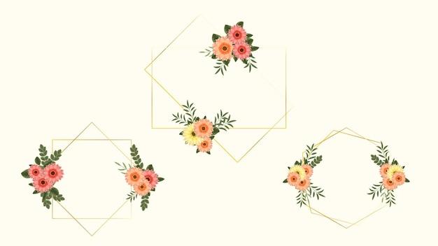 Ensemble d'éléments floraux haut de gamme de luxe doré et cadres de fleurs dans un style détaillé