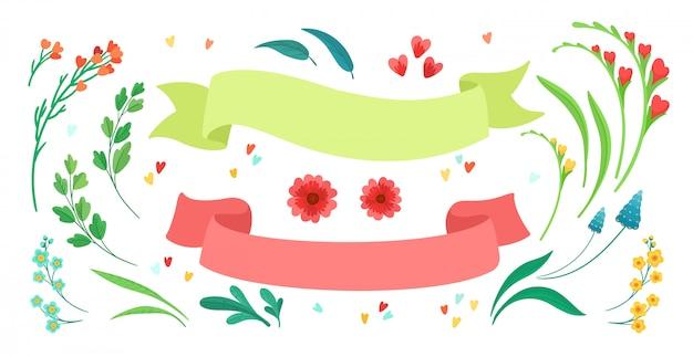 Ensemble d'éléments floraux isolés et rubans